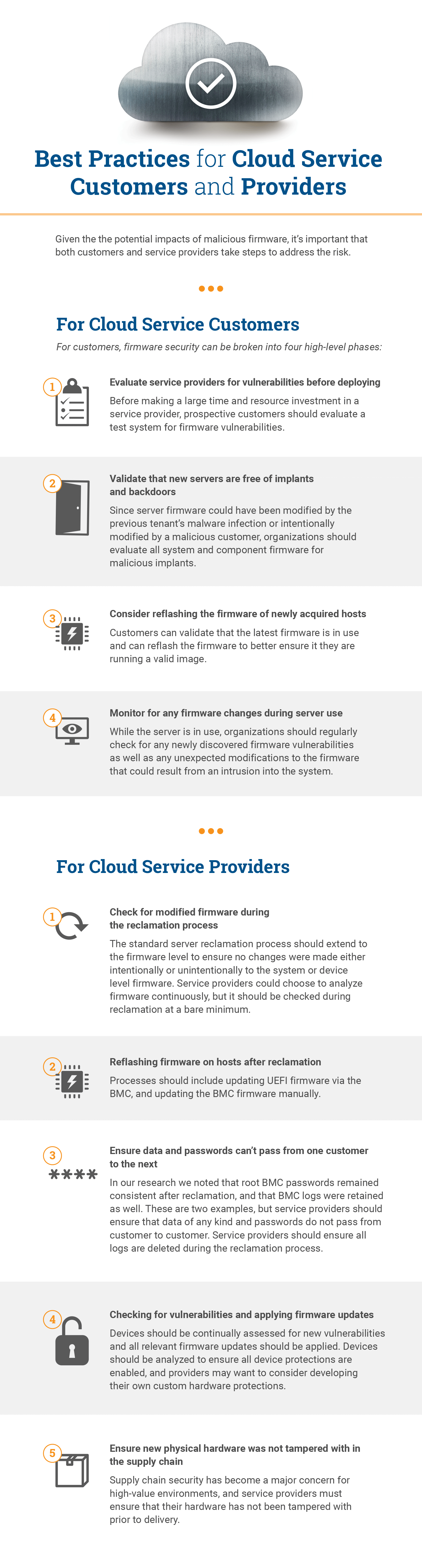 Best Practices for Cloud Service Customers and Providers Infographic